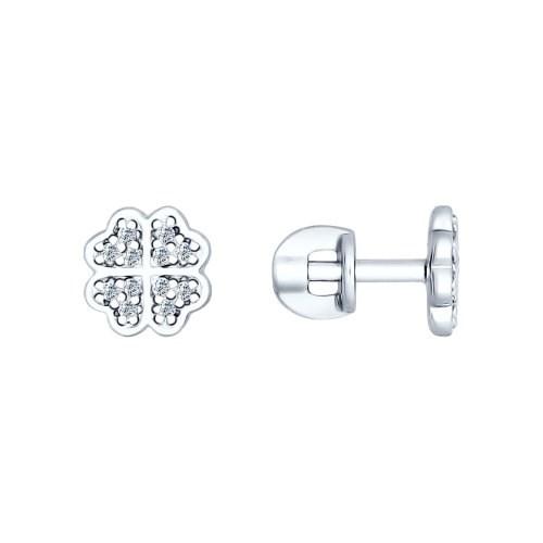 Серьги-пусеты «Клевер» из серебра с фианитами - фото 5220
