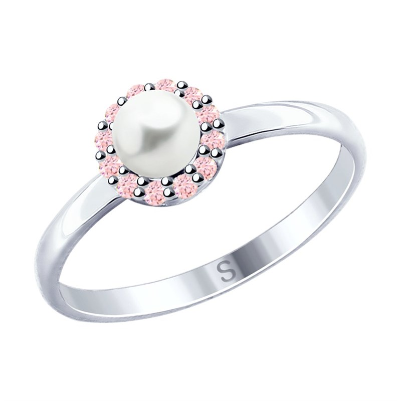 Кольцо из серебра с жемчугом и фианитами - фото 5272