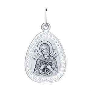 Серебряная нательная иконка с ликом Божьей Матери Семистрельной