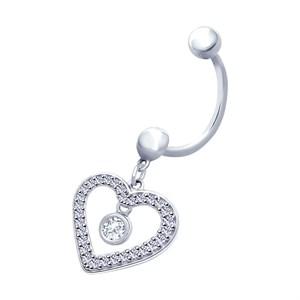 Пирсинг из серебра в виде сердца