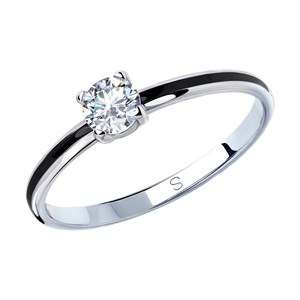Кольцо из серебра с эмалью и фианитом