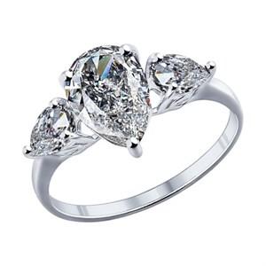 Кольцо из серебра с крупными фианитами