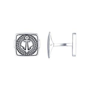 Запонки «Якорь» из серебра