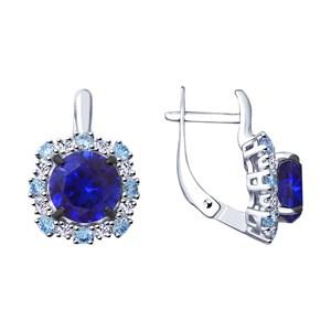 Серьги из серебра с синими корунд (синт.) и фианитами