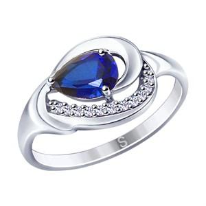 Кольцо из серебра с синим корундом (синт.) и фианитами