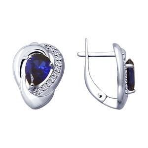 Серьги из серебра с синими корундами (синт.) и фианитами