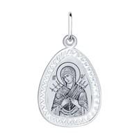 Серебряная нательная иконка с ликом Божьей Матери Семистрельной - фото 5193